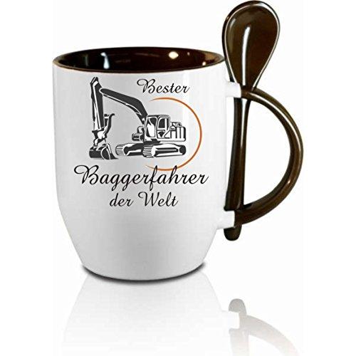 Creativ Deluxe Tasse m. Löffel Bester Baggerfahrer der Welt Löffeltasse, Kaffeetasse mit Motiv,Bürotasse, Bedruckte Tasse mit Sprüchen oder Bildern - auch individuelle Gestaltung nach Kundenwunsch