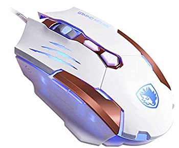 SADES Q6WHITE M [2016 Newest Gaming Mouse] Q6 USB 7 Buttons Gaming Mice for Pc/Mac,3500 DPI,4 Optical LED Colors,Metal Bottom White