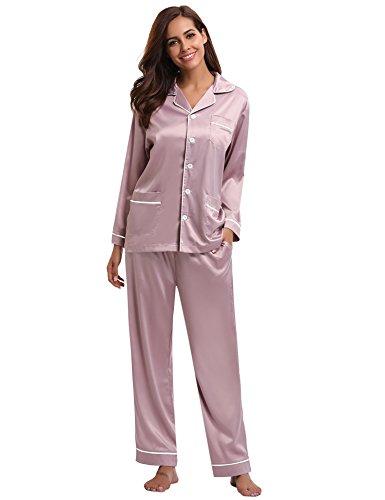 Aibrou Damen Satin Pyjama Set Langarm und Lange Knopfleiste Nachtwäsche Loungewear - Pink - Small