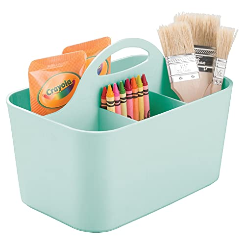 mDesign Contenitore portaoggetti – Per materiale creativo e cancelleria – Capiente organizer scrivania per pastelli, pennelli, matite e altri accessori – verde menta