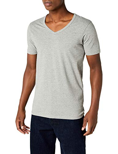 JACK & JONES Herren T-Shirt 12059219 Basic V-Neck Tee, Gr. 54 (XL), Grau (LIGHT GREY MELANGE)