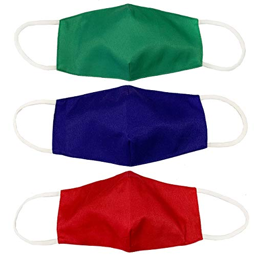 Kids 3 Pack of Washable and Reusable Breathable Cotton 2 Layer Face Mask with Adjustable Straps in Blue, Green, and Red