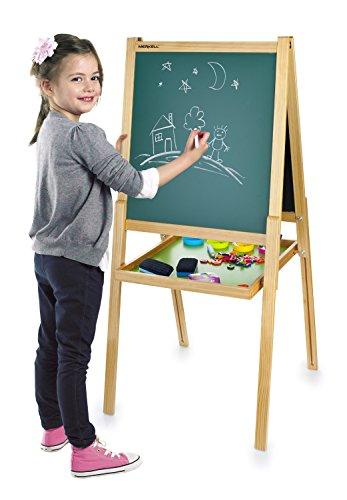 Leomark Maltafel für Kinder - Deluxe Tafel - Schreibtafel mit Zubehör, Kindertafel mit Kreide und Magnet, magnetische Zahlen und Symbole, 108 Teile, (H) 130 cm