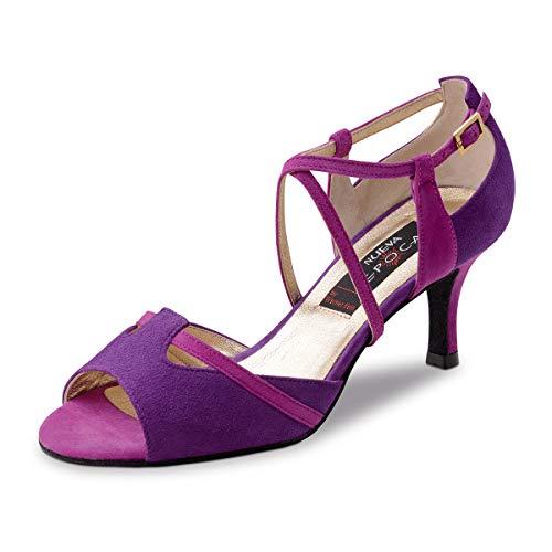 Nueva Epoca - Damen Tanzschuhe/Salsa Sandalette Cinzia - Veloursleder Pink/Viola - 6 cm Stiletto [UK 5]