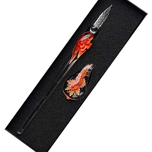 Sipliv hecho a mano de cristal de cristal intarsia dip pen kit de pluma estilográfica vintage caligrafía firmas pluma con un portalápices para cumpleaños regalo de navidad, naranja