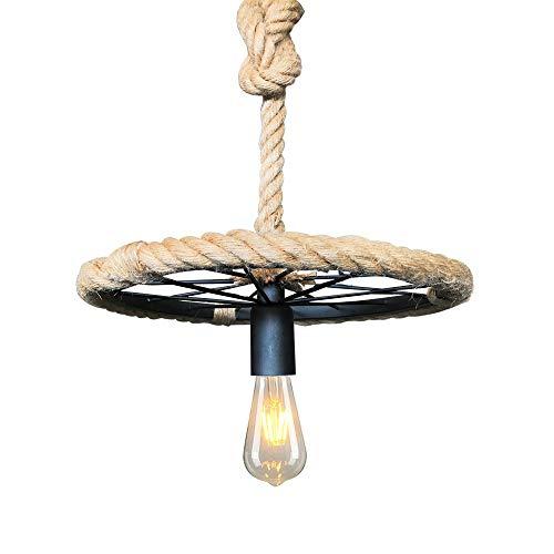 Lámpara colgante del techo de la cuerda del cáñamo de la vendimia Luces colgantes redondas industriales - Barra de metal negro Colgante de suspensión Iluminación - decoración de accesorios Restaurante