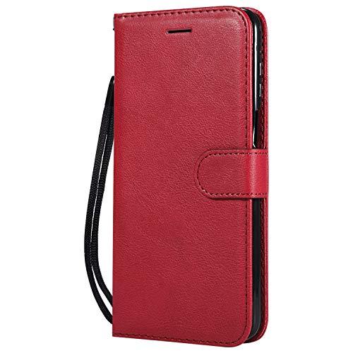 Hülle für Moto Z3 / Z3 Play Hülle Handyhülle [Standfunktion] [Kartenfach] Tasche Flip Hülle Cover Etui Schutzhülle lederhülle flip case für Motorola Moto Z3 Play - DEKT051405 Rot
