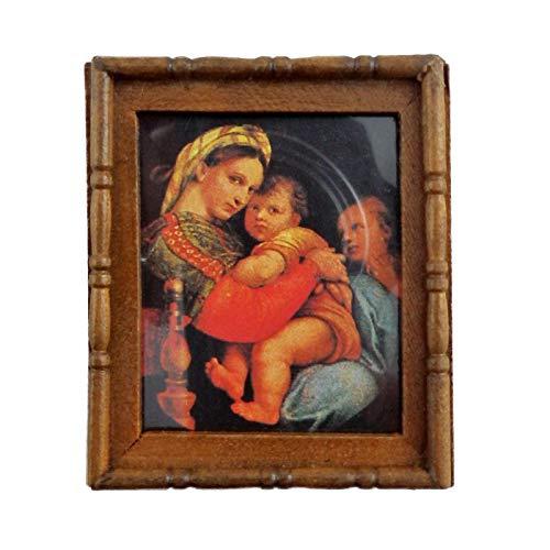 Melody Jane Poupées Miniature Accessoire Mère & Enfants Photo Peinture Cadre en Bois