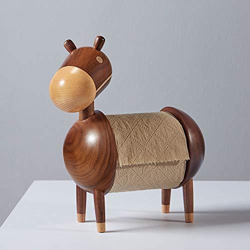 DAMAI STORE Cartoon Esel Kleine Holz-Papier-, Schwarze Walnuss-Holz Kreative Toilettenpapierrollenhalter, Sapele Holz-Handwerk Dekoration (230 * 250 * 110mm) (Color : Brown)