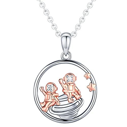 Collar de plata de ley con astronauta para mujer, Colgante de collar de planeta del universo espacial de la Vía Láctea, Regalo de joyería de astronauta estrella de cadena de 18 'para mujeres hombres
