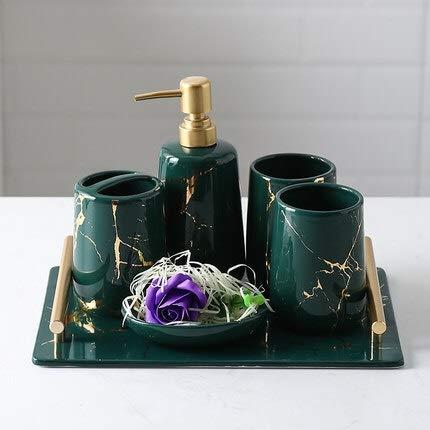 ZHQHYQHHX - Set da bagno in ceramica con motivo marmo e set di accessori da bagno, vassoio portaspazzolino, set di accessori per il bagno (colore: verde, dimensioni: gratuito)