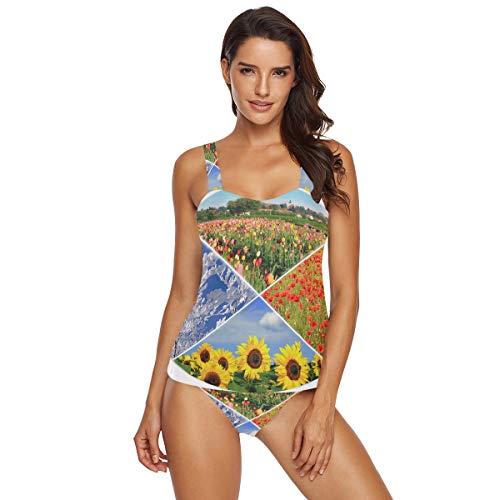 Damen Tankini-Set mit Neckholder, Tulpen-Motiv, rote Mohnblumen, Sonnenblumen, Schneebäume, Badeanzug, Bikini, 2-teilig Gr. L, multi