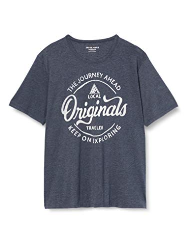 Jack & Jones JORNAMEN tee SS Crew Neck PS Camiseta, Azul Marino, XXL/4XL para Hombre