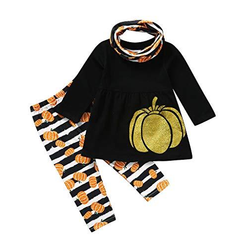 Kinlene Vestiti Vendita Set di 3 Pezzi per Bambini Costume da Zucca per Bambini Vestito da Zucca Pantaloni A Strisce Set di Costumi di Halloween