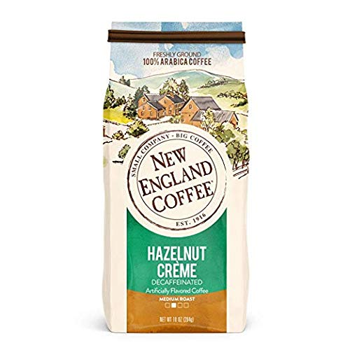 New England Hazelnut Crème Decaf Coffee , Ground, 10-ounce Bags (Pack of 3)