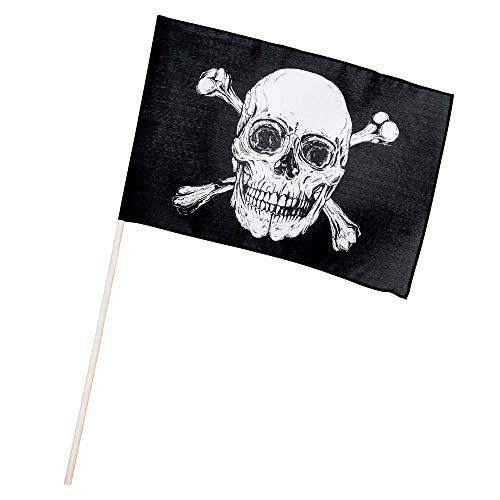 Boland 74163 - Fahne Pirat, Größe 30 x 45 cm, 76 cm langer Holzstab, Polyester, Totenkopf, Flagge, Banner, Wanddekoration, Hängedekoration, Kindergeburtstag, Motto Party, Karneval, Halloween
