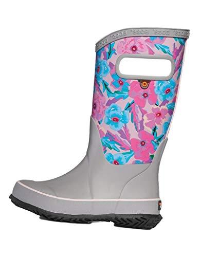 Bogs Kids Girl's Rain Boots Water Pansies (Toddler/Little Kid/Big Kid) Light Gray Multi 2 Little Kid M
