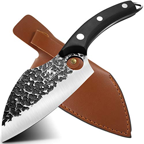 SAWKIT Boning Knife/Meat Cleaver/Hand Forged Boning/High Carbon Steel Fillet Knife/Sheath Butcher Knives/Vegetable Chef Knives /Leather Sheath for Kitchen/Camping/BBQ