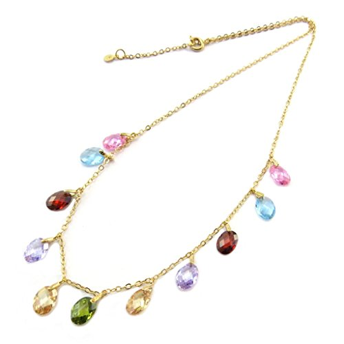 Gold plated 'Linda'gold plated multicolored necklace.
