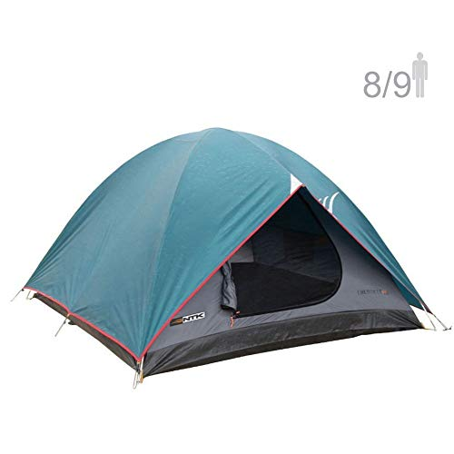 NTK Cherokee GT 8 to 9 Person 10 by 12 Foot Outdoor Dome Family Camping Tent 100% Waterproof 2500mm, Easy Assembly, Durable Fabric Full Coverage Rainfly