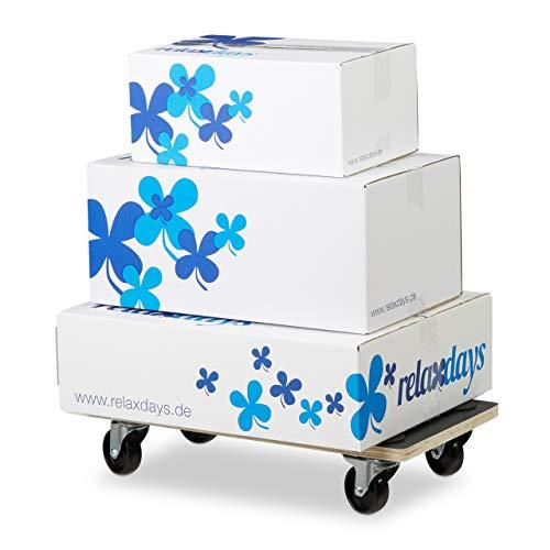 Relaxdays Transportroller Feststellbremse, 400 kg, Lenkungsrollen, Anti-Rutsch-Belag, HBT: 11,5 x 58 x 30 cm, schwarz