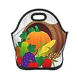 ADONINELP Bolsa de almuerzo con aislamiento, manzanas, naranjas, peras, uvas y maíz se empaquetan en bolsas, bolsa de mano con aislamiento térmico resistente al agua, lonchera, enfriador de alimentos