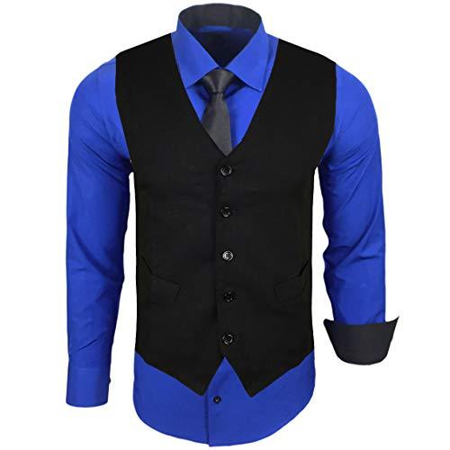 Rusty Neal Herren Hemd mit Weste Krawatte Anzugs Sakko Business Hochzeit Freizeit Hemden Set wählbar RN-44-HWK, Größe:3XL, Farbe:Sax