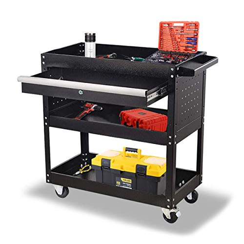 Rolling Tool Cart Organizers,Service Tool Cart with Wheels and Drawer,330 LBS Capacity 3-Tier Mobile Storage Trolley,Utility Cart for Repair Shops and Warehouses