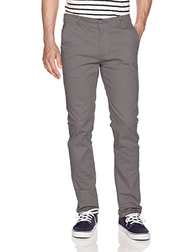 WT02 Men's Long Basic Stretch Skinny Chino Pant, Grey(New), 32X30