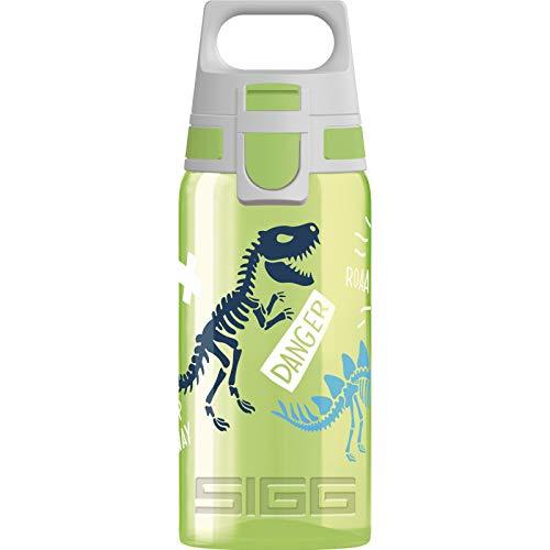 SIGG VIVA ONE Jurassica Kinder Trinkflasche (0.5 L), schadstofffreie Kinderflasche mit auslaufsicherem Deckel, einhändig bedienbare Wasserflasche