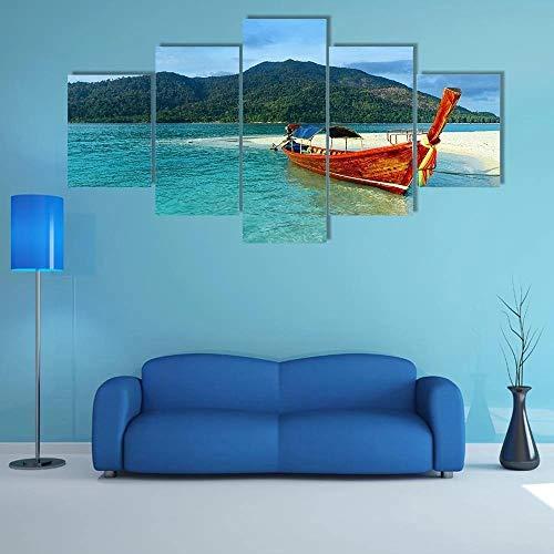 QQQAA Cuadros Modernos Impresión de Imagen Artística Digitalizada Lienzo Decorativo para Tu Salón o Dormitorio Agua Clara y Cielo Azul Isla Lipe XXL 5 Piezas (150x80cm)