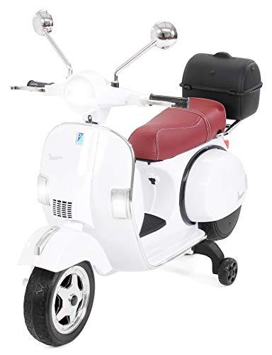 Actionbikes Motors Kinder Elektroroller Vespa PX150 - Lizenziert - 2x18 Watt Motor - Eva Vollgummi Reifen (Weiß)