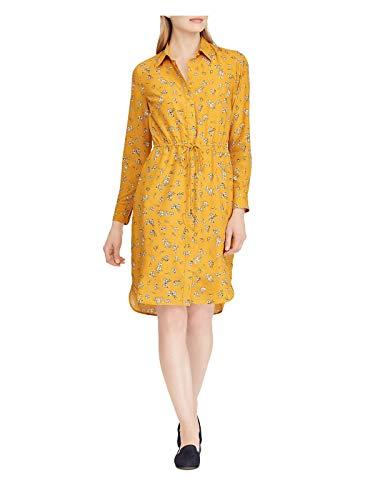 LAUREN RALPH LAUREN Womens Qadira Knee-Length Floral Print Shirtdress Gold 4
