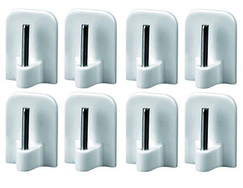Gardinenhaken selbstklebend Klebehaken für Gardinenstangen Haken Gardine Vitragestangen Fenster Weiß 16x24mm, 8 Gardinenhaken