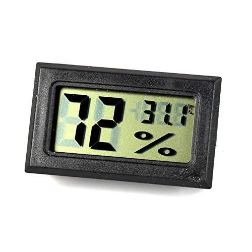 Mini higrómetro termómetro, higrómetro de temperatura interior LCD digital, para humidificador de puros, incubadora de reptiles, aves de corral, oficina, dormitorio, sala de estar (negro)