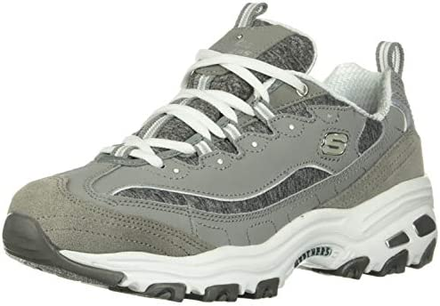Skechers womens D LITES ME TIME Memory Foam Lace up Sneaker Grey White 9 5 M US product image