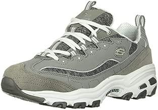 Skechers womens D'LITES ME TIME Memory Foam Lace-up Sneaker,Grey/White,9 M US