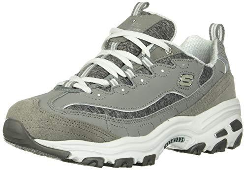 Skechers Sport Women's D'Lites - Me Time - Memory Foam Lace-up Sneaker,Grey/White,8.5 M US