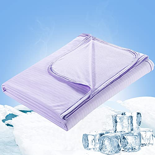 Cooling Blanket, LUXEAR Twin Size Double-Sided Summer Blanket for Hot Sleepers, Lightweight Sleeping Blanket for Night Sweats, Oeko-TEX Certificate Japanese Q-Max 0.34 Arc-Chill Cooling Fiber, 59×79'
