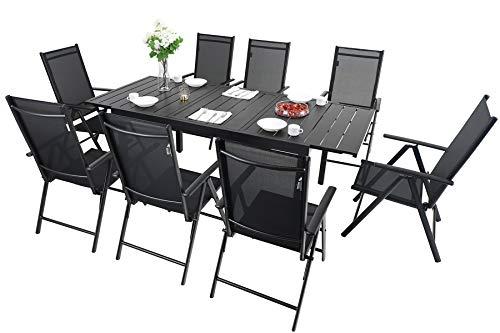 MFSTUDIO 9PCS Outdoor Patio Dining Set, 8 Folding Reclining Chairs, 1 Rectangular Expandable Table, Porch Lawn Backyard Garden Furniture Sets
