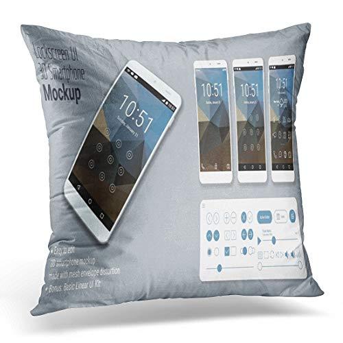 N / A Kissenbezug Bildschirm Sperrbildschirm Mobile Ui Smartphone Mockup Phone Dekorativer Kissenbezug Home Decor Quadratischer Kissenbezug