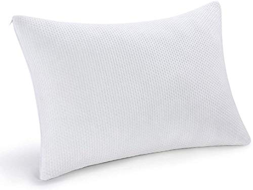 pillowLY Shredded Memory Foam Pillow For Neck Support & Pain Relief - 2 Comfort Zones (Soft & Firm) Adjustable for Stomach Back & Side Sleepers, Best Orthopedic Sleeping Pillow - Bamboo Cover