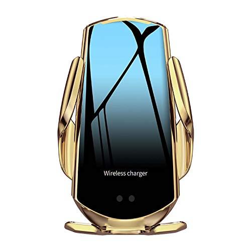 15W Qi Cargador Inalámbrico Coche Carga Rápida Sensor Automático para LG V50/G8, iPhone 12 Mini 11 Pro XS MAX XR X SE, Samsung Galaxy S20 S10 S9 Note 20/10/9/8,Huawei P30 Pro (Gold)