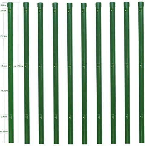 10 Zaunpfosten Ø 34 mm Zaunpfahl 1700mm lang als Pfosten für 1,5m hohen Metallzaun aus Maschendraht in grün RAL 6005. Zaunpfahl mit 3 Halter für Spanndraht und Pfosten Kappe.…
