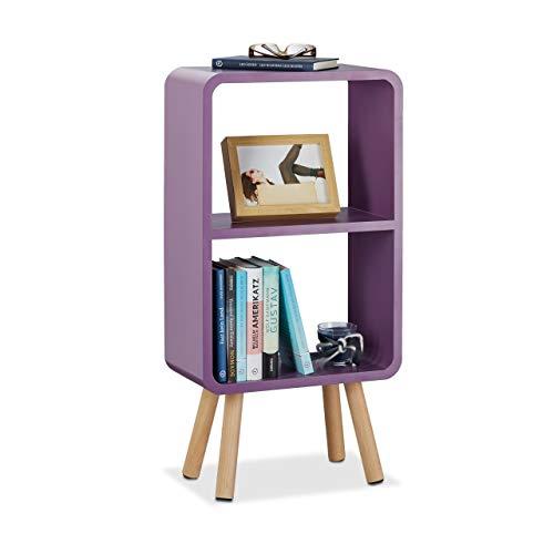 Relaxdays staande kast met 2 vakken, smalle boekenkast zonder schuifladen, woonkamer plank met houten poten, violet