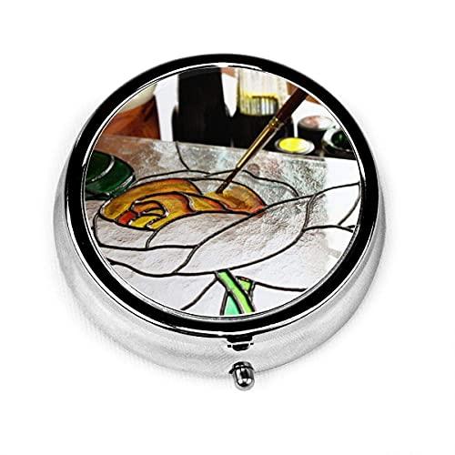 Pastillero redondo con 3 compartimentos Estuche pequeño para pastillas Portátil para monedero de bolsillo Pintura de vidrioartdrawingrosabrushpaint