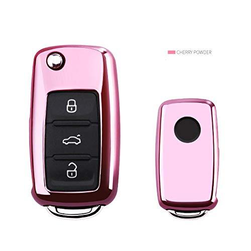 KJKJ Autosleuteletui voor Volkswagen VW Passat Golf Jetta Bora Polo Sagitar Tiguan autosleutelcover met sleutelhanger TPU Small roze