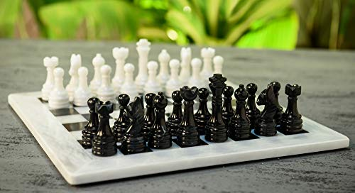 RADICALn 15 Inches Handmade White and Black Weighted Full Chess Game Set with Storage Box - Staunton and Ambassador Style Marble Tournament Chess Sets for Adults