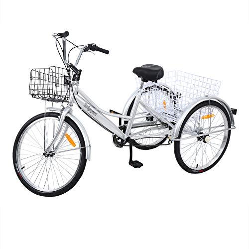 Yonntech 24 Zoll Zahnräder Dreirad für Erwachsene 7 Gänge Erwachsenendreirad Shopping mit Korb 3 Rad Fahrrad für Erwachsene Adult Tricycle Comfort Fahrrad Outdoor Sports City Urban (Silber)