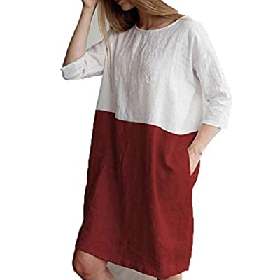 Women Summer Patchwork 1/2 Sleeved Cotton Dress O Neck Loose Pockets Tunic Dresses Wine red XXL by Lovely-Star